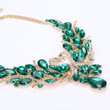 Green Crystal and Double Swan New Collier Necklace & Earrings Jewelry Set