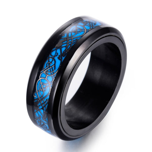 Glow in The Dark Spinner Ring with Dragon Inlay and Blue Light Tungsten Carbide Ring