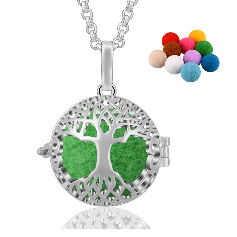 Love Tree Essential Oil Diffuser Locket Pendant Necklace
