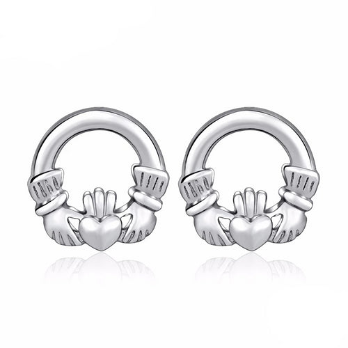 925 Sterling Silver Round Claddagh Stud Women's Earrings