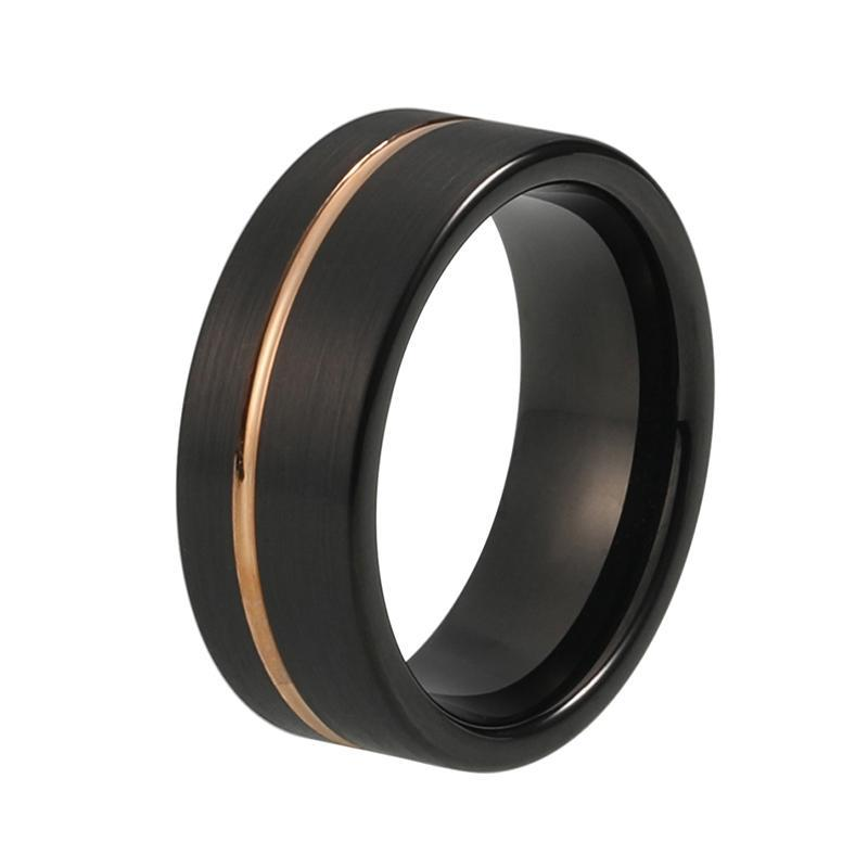 8mm All Black Tungsten Carbide Ring with Rose Groove Wedding Band - Innovato Store