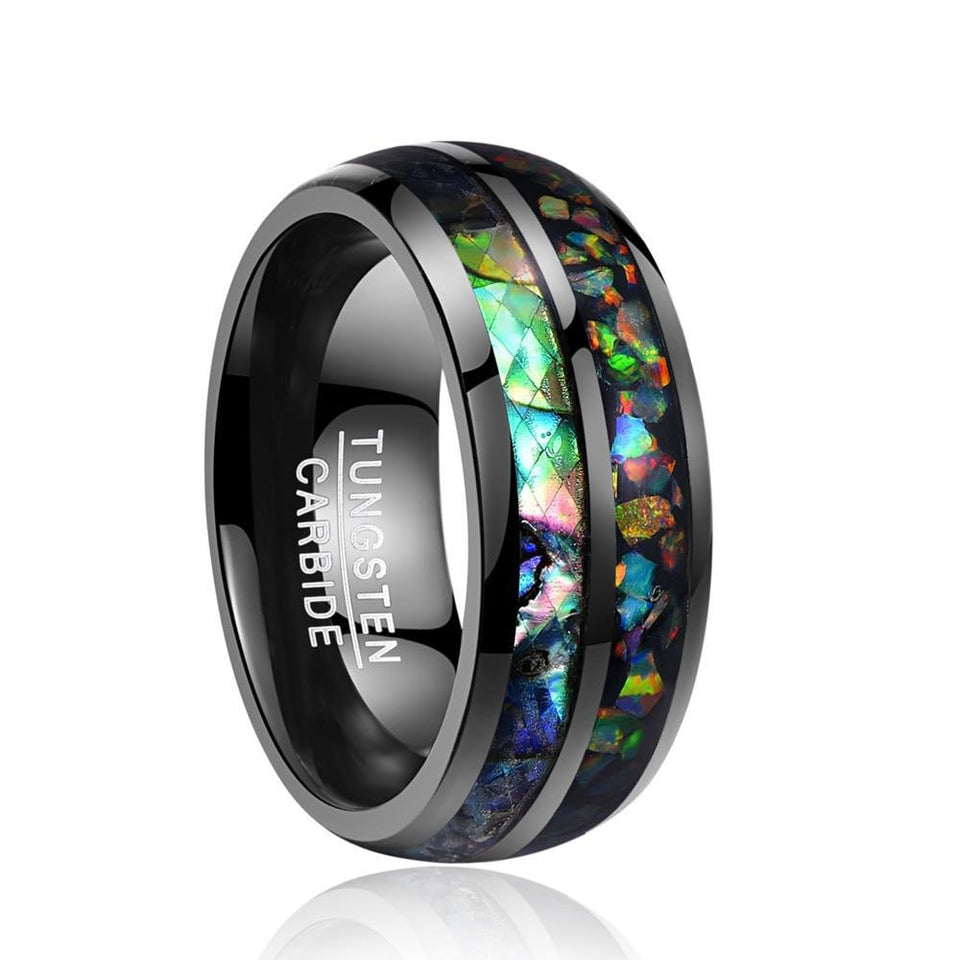 Black Tungsten Carbide with Opal Inlay Wedding Ring - Innovato Store