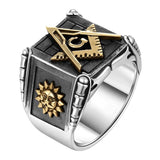 Black Stainless Steel Freemason Square and Compasses, Moon and Sun Ring - Innovato Store