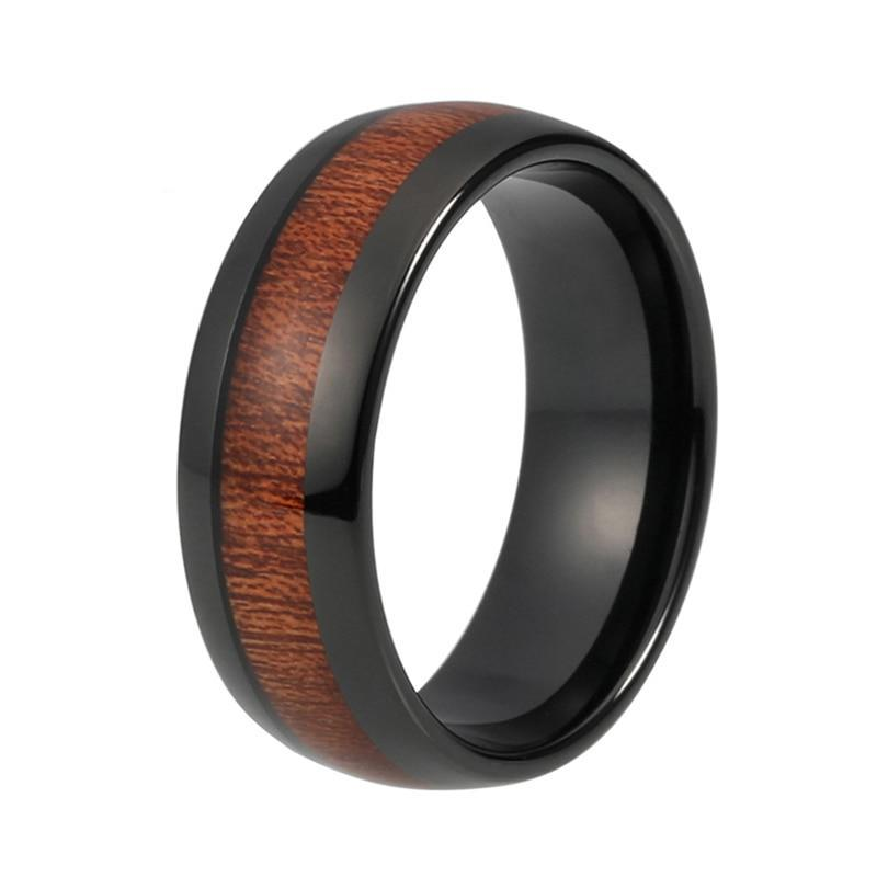 8mm Black Tungsten Carbide with Dark Polished Koa Wood Inlay Ring - Innovato Store