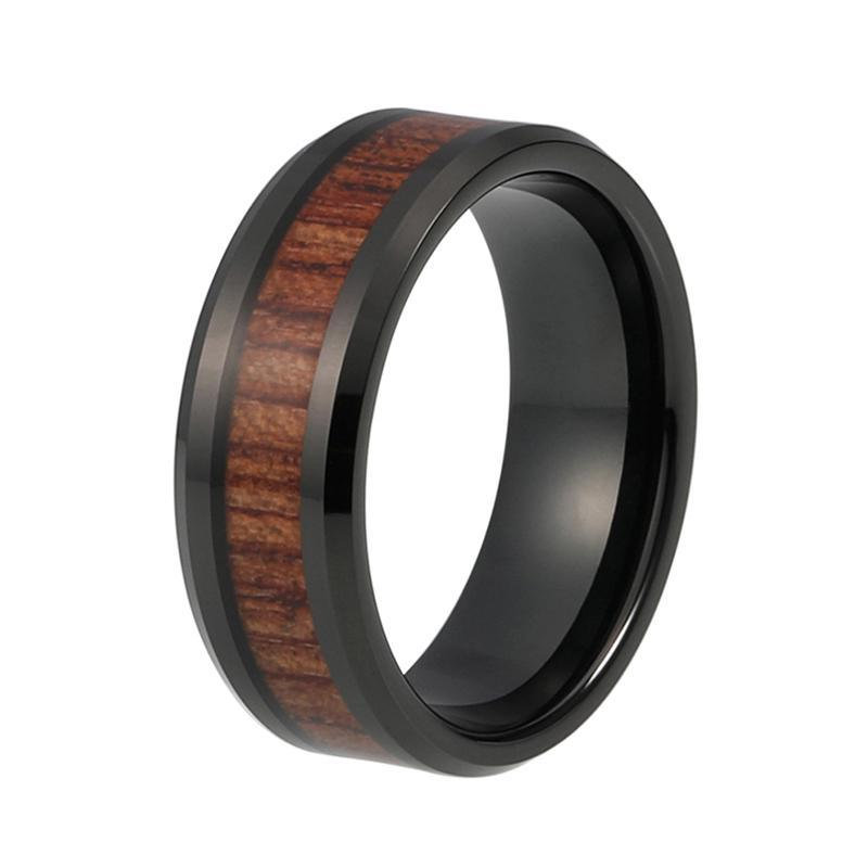 8mm Black Tungsten Carbide with Dark Brown Koa Wood Inlay Wedding Ring - Innovato Store