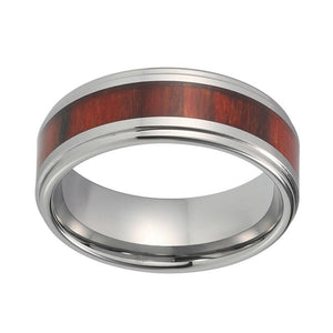 8mm Double Step Edges with Wood Inlay Silver Coated Tungsten Carbide - Innovato Store