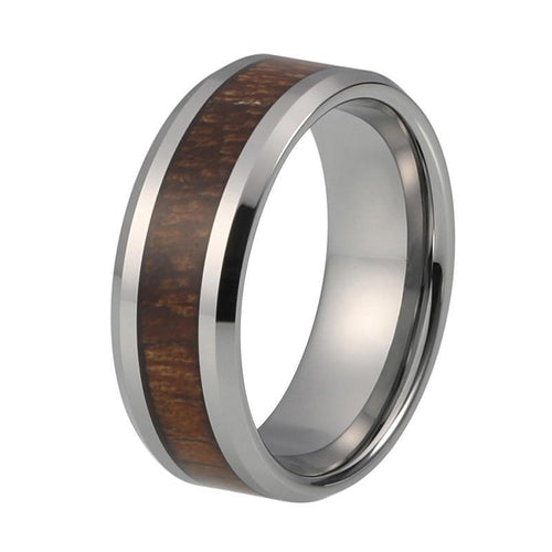 8mm Silver Coated Tungsten Carbide with Koa Wood Inlay Ring - Innovato Store