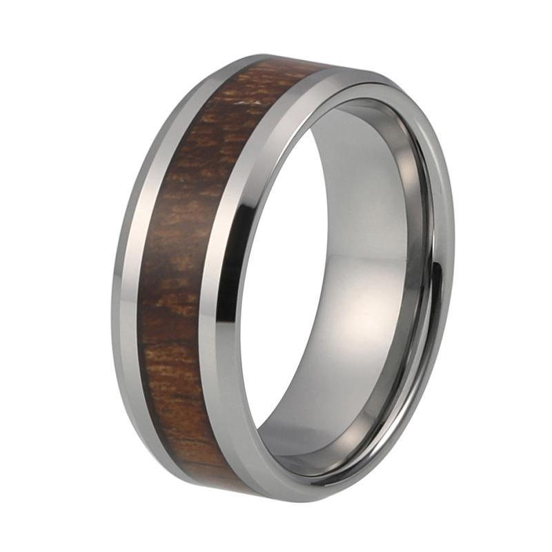 8mm Silver Coated Tungsten Carbide with Koa Wood Inlay Ring