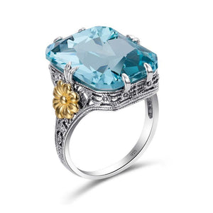 925 Sterling Silver with Gold Plated Flower and Sky Blue Crystal Women's Engagement and Wedding Ring