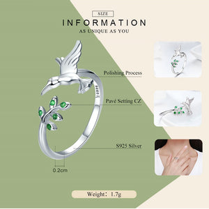 925 Sterling Silver Hummingbird & Green Leaves Ring