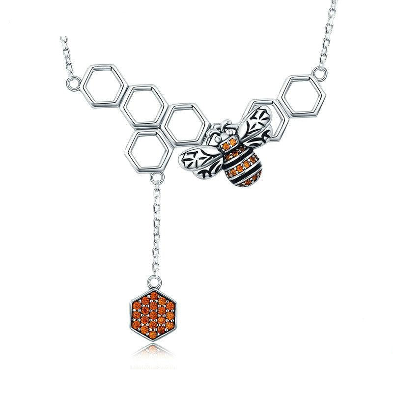 925 Sterling Silver Bee Honeycomb Pendant Necklace For Women
