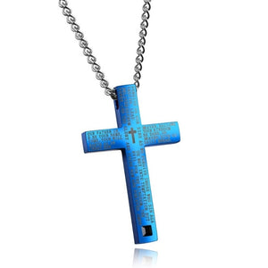 Stainless Steel Engraved Lord's Prayer Cross Pendant Necklace