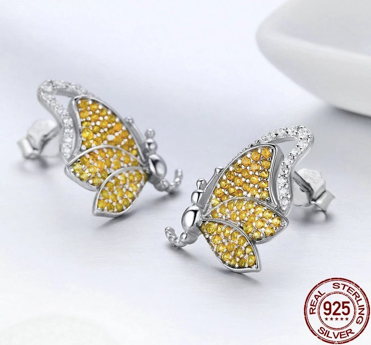 925 Sterling Silver Yellow and White Cubic Zirconia Butterfly Stud Earrings