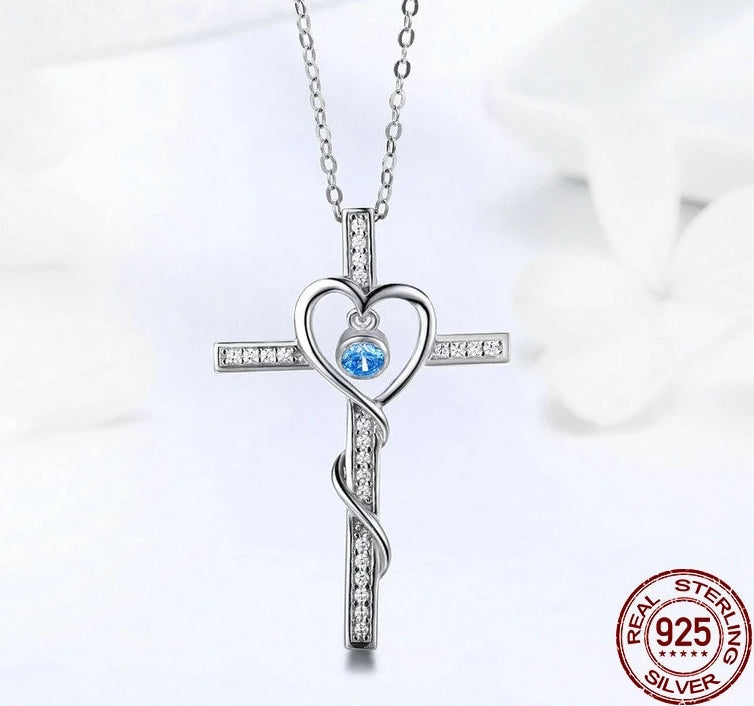 925 Sterling Silver Cross Pendant with Cubic Zirconia Necklace