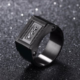 11mm Stainless Steel Black Signet Men's Cocktail Ring with Cable and Crystal Inset - Innovato Store
