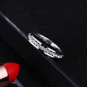 4mm Silver Toned Stainless Steel with a Crystal Inlay Women's Jewelry Wedding Band