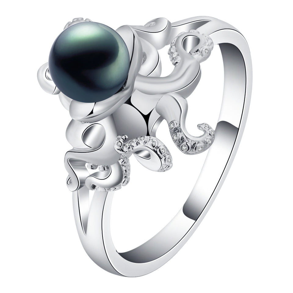 Octopus Silver Plated Ring with Luxury Stone in the Center - Innovato Store