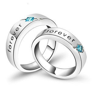 Romantic Forever Love Silver Plated Ring with Blue Crystal Couple Wedding Ring