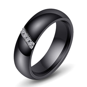 6mm Black or White Ceramic Wedding Ring for Women with Silver Tone Inlay and Round Zircons - Innovato Store