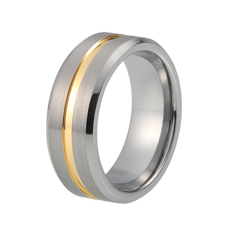 8mm Two Tone Silver Brushed Matte Surface with Gold Plated Inlay Tungsten Carbide Wedding Ring - Innovato Store