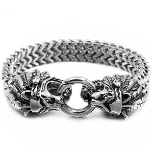 Large Stainless Steel Tribal Indian Lion Chain Link Bracelet for Men
