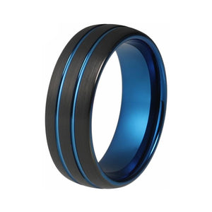 Blue Engraved Wheel-like Tungsten Carbide Dome Ring - Innovato Store