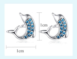 Blue Cubic Zirconia Dolphin 925 Sterling Silver Stud Earrings - Innovato Store