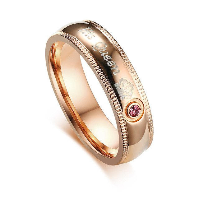 His Queen and Her King Black and Gold Coated Stainless Steel Wedding Ring - Innovato Store