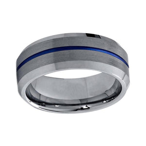 8mm Silver Brushed Matte Beveled Ring with Blue line Tungsten Carbide Ring - Innovato Store