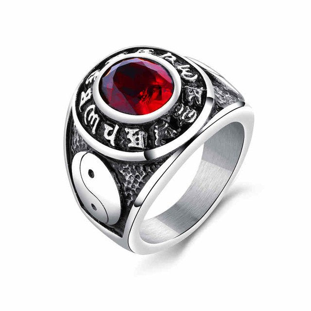 Yin and Yang Multi-Color Silver Plated Ring with CZ Stone in The Center