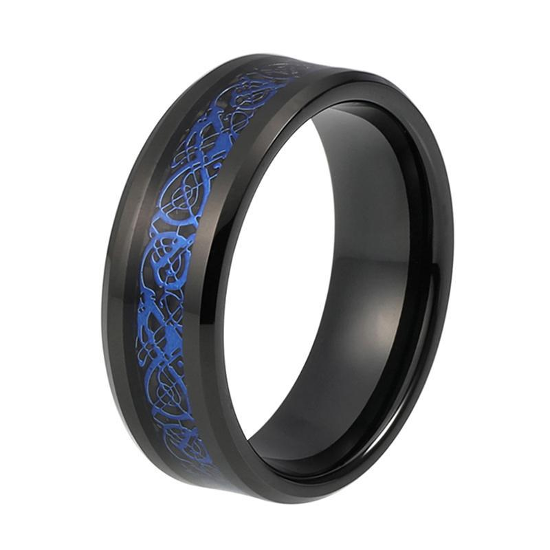 Black Tungsten Carbide with Blue Pattern on Black Carbon Inlay Wedding band - Innovato Store