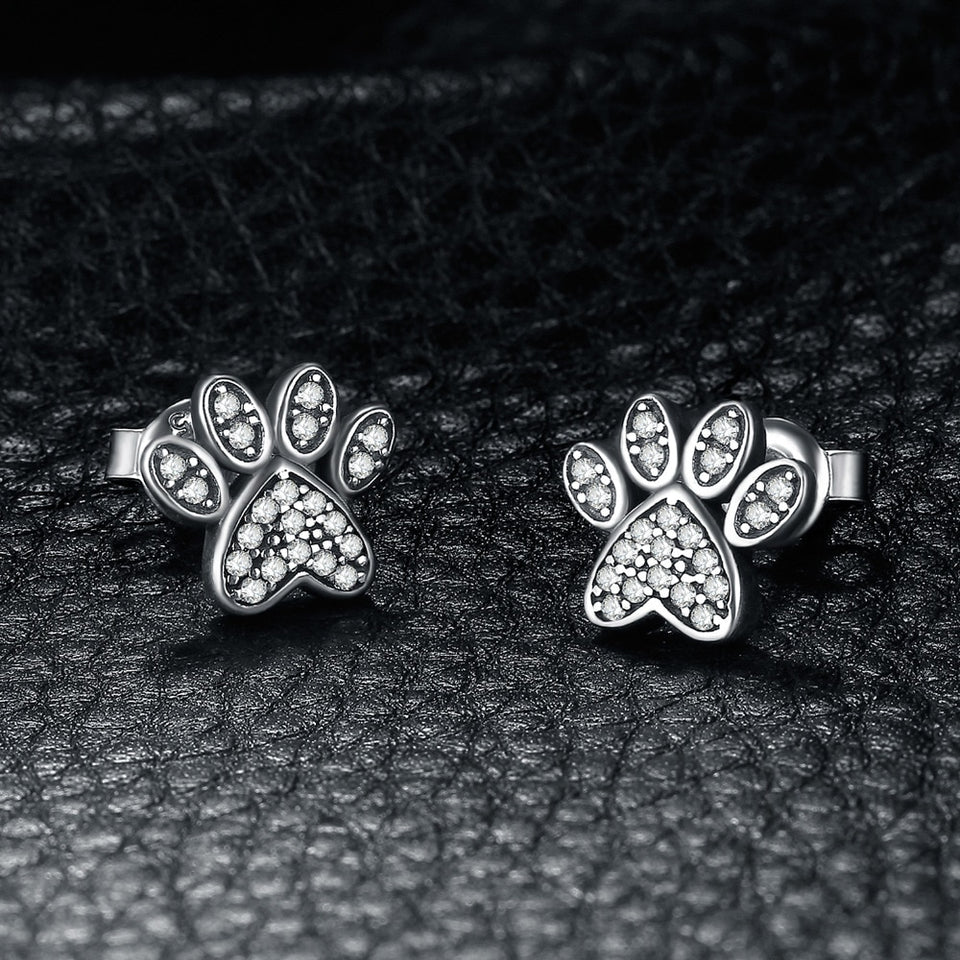 925 Sterling Silver Vintage Dog Paw Fingerprint Cubic Zirconia Stud Earrings - Innovato Store