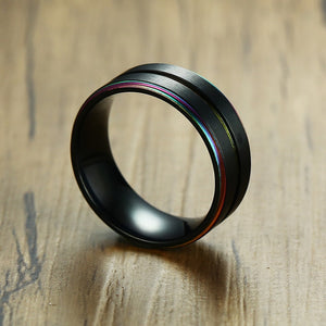 8mm Black Tungsten Carbide Magnificent Unisex Rainbow Rings - Innovato Store