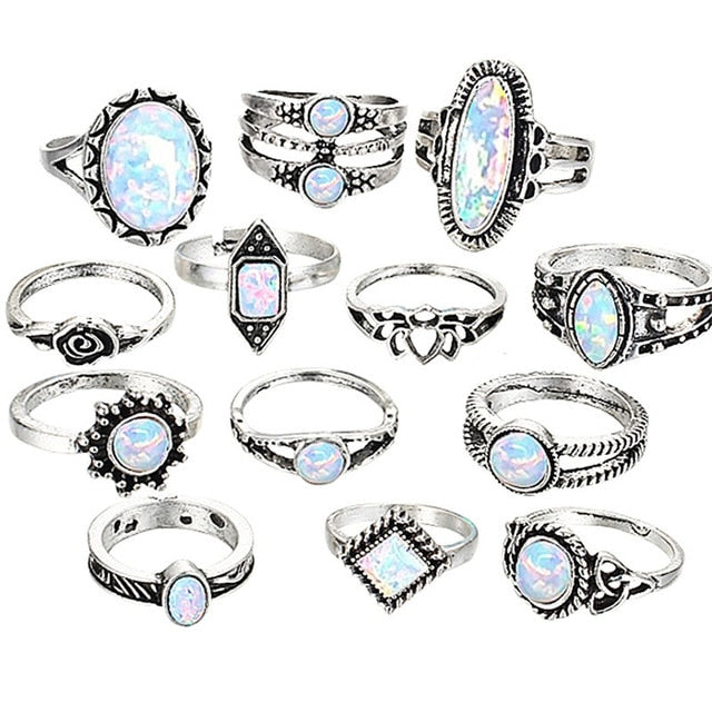 Antique Retro Bohemian Set of 13 Rings for Women with Flower and Geometric Design and Blue Tone Rhinestone - Innovato Store