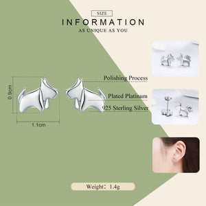 925 Sterling Silver Bulldog Stud Earrings Women's Jewelry