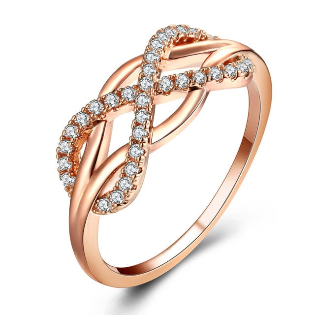 Rose Gold Plated Engagement Ring for Women with Infinity Symbol and 31 pieces of Round Zircons Inlay