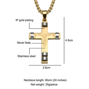 Gold Plated Stainless Steel Cross Pendant Necklace