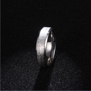 Stainless Steel Simple Fashion Ring for Women with Silver Color Grain Scrub Sparkle Inlay Design
