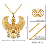Gold Egyptian Falcon Holding Ankh Pendant Necklace