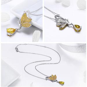 925 Sterling Silver Dancing Butterfly with Cubic Zirconia Pendant Necklace