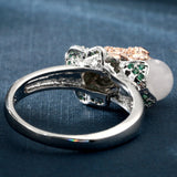 Rhodium Plated Austrian Crystal Frog with Pearl Design Ring
