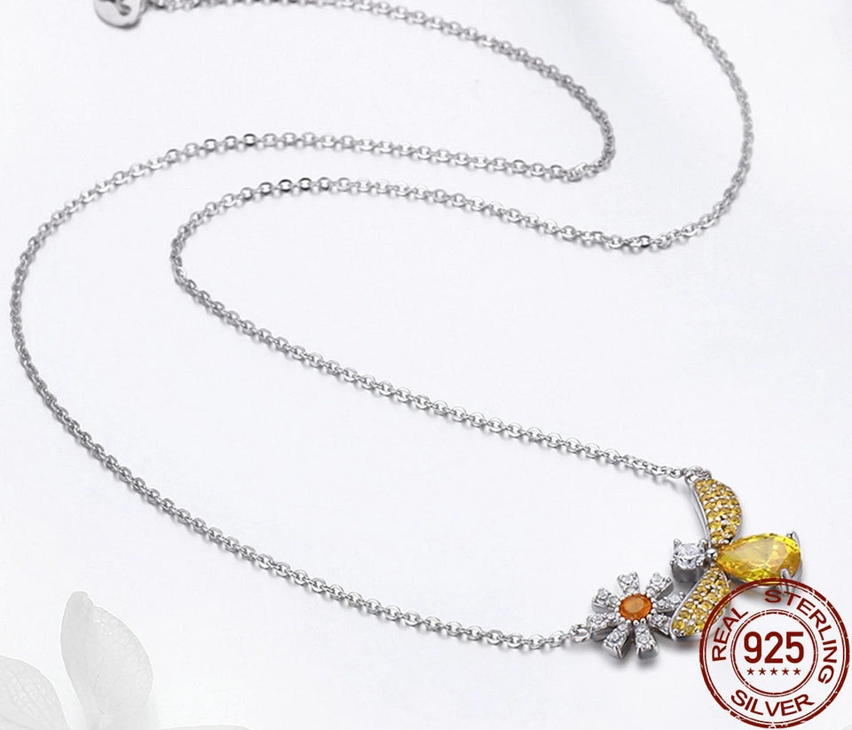 925 Sterling Silver Bee and Flower Yellow Cubic Zirconia Pendant
