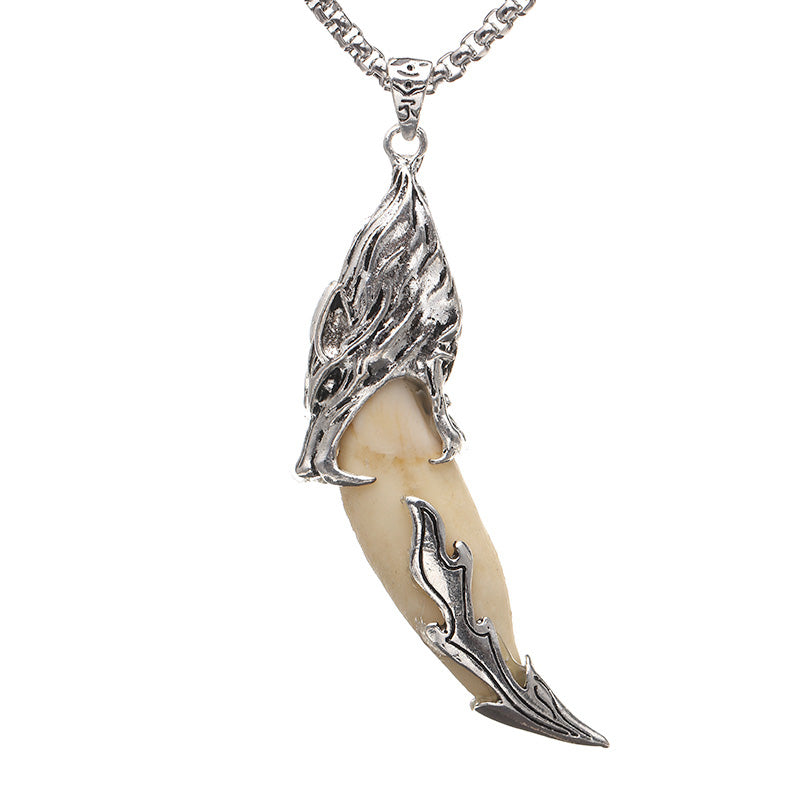 Silver Plated Wolf Tooth Pendant Tribal Design