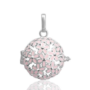 Light Pink Floral Design Essential Oil Diffuser Ball Shape Locket Necklace