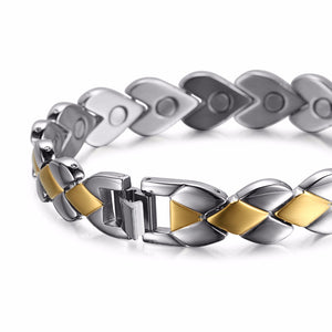 Silver & Gold Plated Hearth Magnetic Bracelet