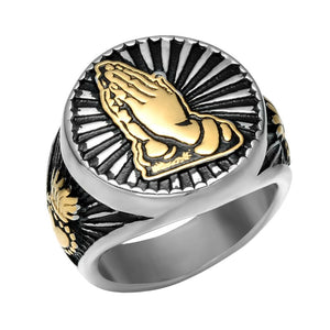 Vintage Triple Toned Stainless Steel Men's Prayer Wedding Band