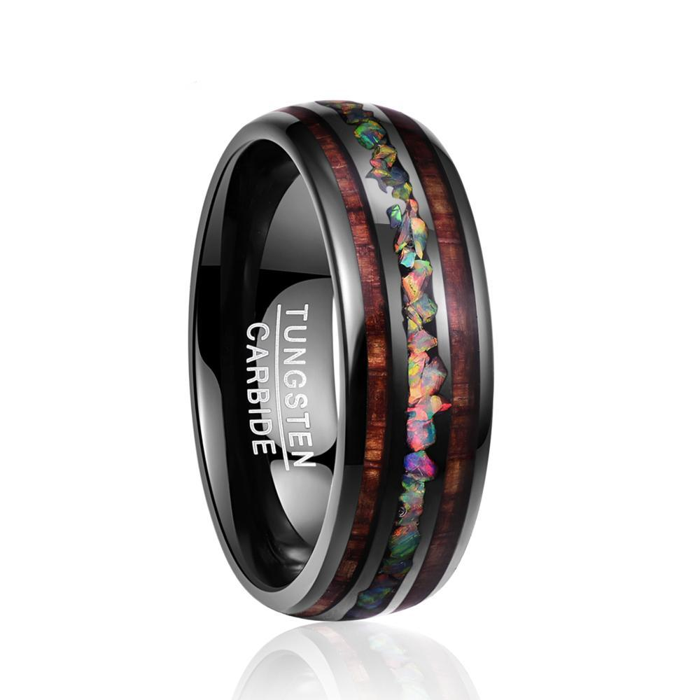 8mm Black Tungsten Carbide with Hawaiian Wood Inlay and Opal Filled Center Wedding Ring - Innovato Store