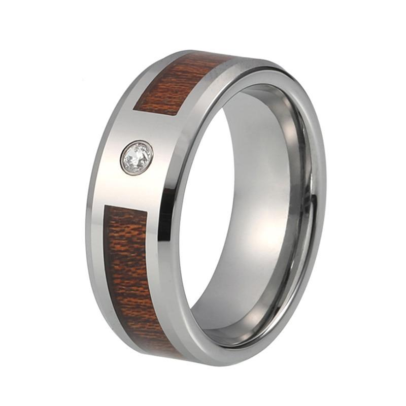 Dark Wood Inlay with Silver Coated Tungsten Carbide and CZ Stone Wedding Ring - Innovato Store