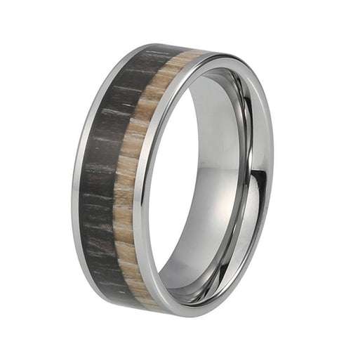 8mm Two Tone Black and Brown Wood Inlay with Silver Coated Tungsten Ring
