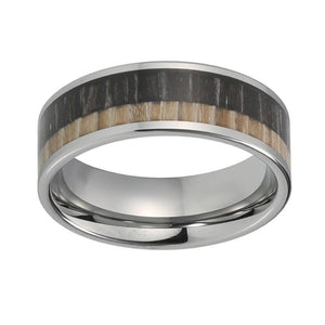 8mm Two Tone Black and Brown Wood Inlay with Silver Coated Tungsten Ring - Innovato Store